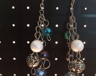 Blue and White Bead Chandelier Dangle and Drop Earrings
