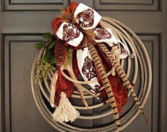 CUSTOM ORDER WREATH Western Woodland Lariat Antler Rope Wreath
