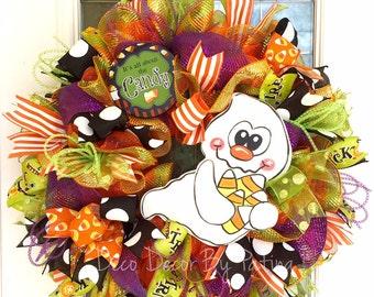 Halloween Wreath - Ghost Wreath - Candy Corn Wreath -  Halloween Decor - Halloween Decoration - Halloween Door Hanger - Halloween Decoration