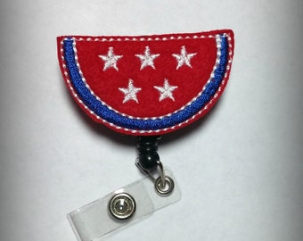 Patriotic Watermelon Badge Reel-Red, White, and Blue Fourth of July Flag Id holder- 4th of July Retractable Badge Holder