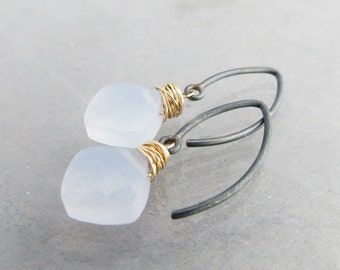 Chalcedony Earrings, Delicate Gemstone Earrings, Oxidized Sterling Silver, Mixed Metal Earrings, Minimalist Jewelry, Ready to Ship