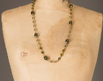 Green and Gold Facated Stone beaded Necklace