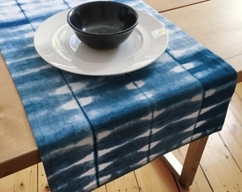 Indigo Shibori | Blue Table Runner | Hand-Dyed | Cotton-Linen | Housewarming Gift | Wedding Gift | Modern Runner | Gift for Her | Tie Dye
