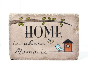 PERSONALIZED Garden Stone. Home is where Mama is. 6x9 Home Sign. Choose your amount of little birds. Garden Decor. Bookend. Grandma Garden.