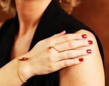 Bracelet Bague ethniques-bohème fait main laiton-hématite-pierres semi-précieuses-perle de verre-agates (BR BA WANDA) turquoise-rouge-noir