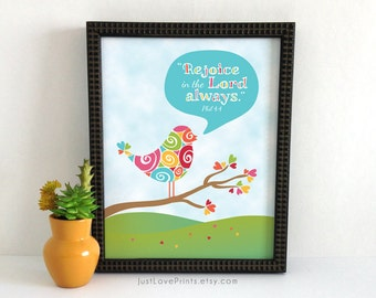Rejoice In The Lord Always - Catholic Scripture Art - 8x10 Print