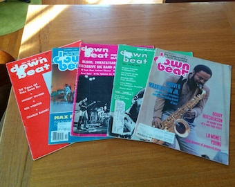 Down Beat Magazines Five Back Issues Vintage 1950s-1970s