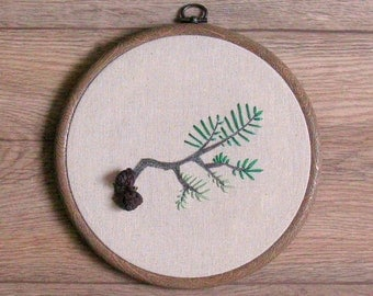 Pine cone embroidered hoop art, woodland wall art, rustic home decor, rural art, pine tree bedroom wall art whimsical autumn art fall nature