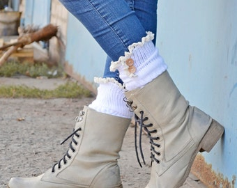 LOVELY Stretch lace boot socks White Lace boot cuffs womens Cuff socks Leg warmers Lace button socks boot toppers TT5