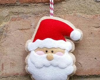 Adorable handmade felt Santa ornament