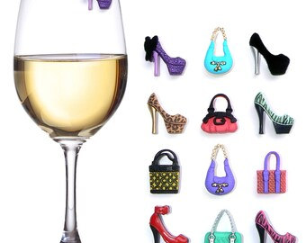 High Heels & Handbags Wine Glass Charms Magnetic and Markers set of 12
