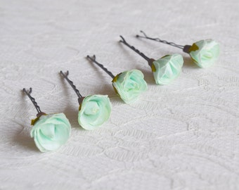 Mint Green Rose Pins, Bridal hair clips, Wedding flower pins, mint rose bobby pins - set of five