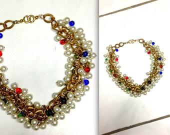 vtg 80s unique style decorative collier necklace gold bling pearls multicolor