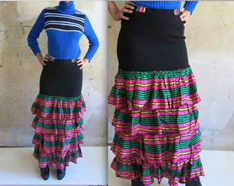 80s vtg flamenco gypsy funny long wool skirt volant green pink black sz S