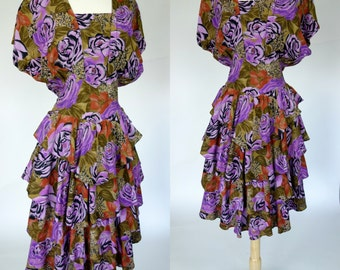 1980s purple floral dress, ruffled dolman sleeve fit and flare avant garde dress, Medium to large