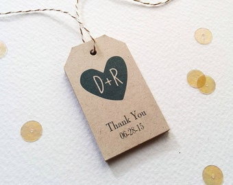 Wedding Favor Tags - Couples Initials gift tags - Brown kraft wedding tags - Thank You favor tags - Rustic Bridal Shower tags - (twk-16)
