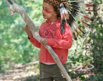 N22- From 5-8 years Kid / Child's:Brown feather Headdress 21 inch. – 53,34 cm.