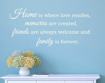 Home is where love resides, memories are created...Vinyl Wall Decal, Home Wall Quote, Living Room Wall Sticker, Family Vinyl Lettering CE7