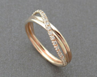 Unique Engagement Ring, Diamond Wedding Ring, Infinity Ring, Rose Gold Wedding Band, Infinity Wedding Ring, Pave Ring, 14k Gold Jewelry