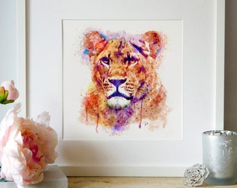 Lioness head Watercolor painting Wildlife Aquarelle Big cat Lion art Printable art Lioness decor Watercolor poster Lioness poster Animal art