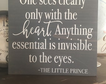 One sees clearly only with the heart 1'x 1' wood sign (Restyled Vintage Designs) farmhouse decor