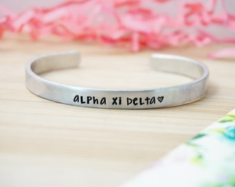 Sorority Cuff Bracelet - Official Licensed Product - Greek Collection - Multiple Sororities Available - Hand Stamped Silver Cuff Bracelet