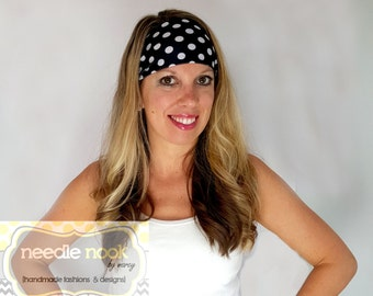 The Black & White Polka Dot Yoga Headband - Spandex Headband - Boho Wide Headband