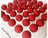 12 Sparkly Red Cake Pops - for birthday, bachelorette party, glitter, bling, fashion, circus, clown, carnival, firefighter, wedding, quince
