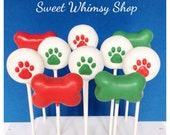 12 Dog Theme Cake Pops in Bone and Paw Print shapes, for Puppy Party, birthday, Paw Patrol, vet, groomer, petsitter, dog lover, graduation