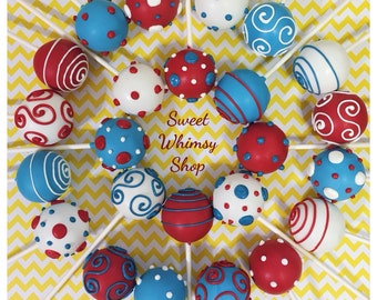 12 Assorted Polka Dots & Swirl cake pops for Dr. Seuss, Cat in the Hat, One Fish Two Fish, birthday, baby shower, nautical theme, red, blue