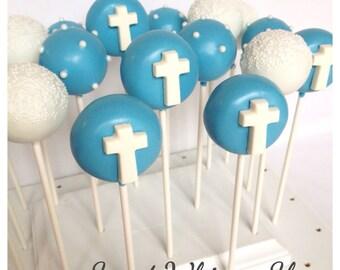 12 Cross Cake Pops for Baptism, Christening, Confirmation, baby shower, church dedication, Catholic school, Christian, religious