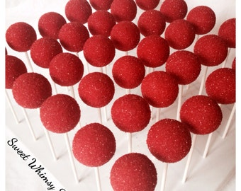 12 Sparkly Red Cake Pops - for birthday, bachelorette party, glitter, bling, circus, clown, firefighter, wedding, quince, christmas, rudolph