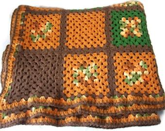 "Vintage 70"" x 55"" Afghan Crochet Granny Square Blanket Throw Multi-Color"