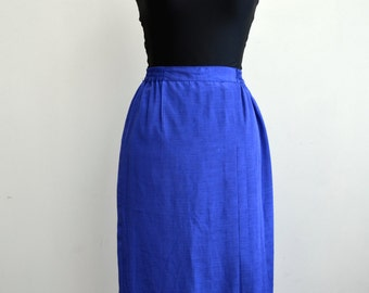 purple calf length skirt with side pleats - size small