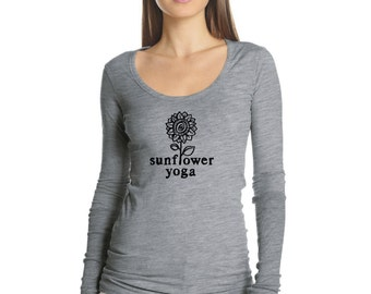 Sunflower Yoga Scoop Neck Tee With Ribbed Sleeve