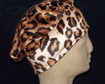 Beret Leopard Stretch Velvet Animal Print Head Cap  - Stretch Velvet Slip On Cap Hat Turban