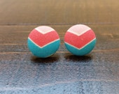 Chevron Button Earrings, Fabric Button Earrings, Stud Earrings, Handmade Jewelry, Fabric Covered Button Earrings, Gifts for her