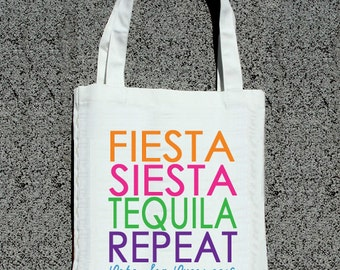 Fiesta Siesta Tequila Repeat Colorful Bachelorette Tote - Wedding Welcome Tote Bag