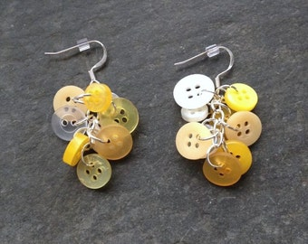 Yellow Button Earrings; Vintage Buttons, Button Earrings, Modern, and Antique Button Blend, Chainmaille