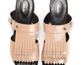 SALE  Leather Sandals. Slip On Sandals. Nude Fringe Flat Shoes. Nude Sandals. Nude Shoes. Handmade shoes.