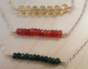 Gemstone Gold Bar Necklace, Citrine necklace, Carnelian necklace, Jade necklace, Gold Fill Necklace, gemstone necklace