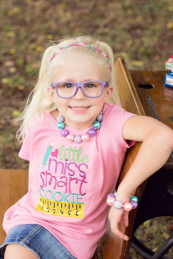 Little Miss Smart Cookie Embroidered Girls Shirt - First Day of Preschool  - Back to School - Kindergarten - Pre-k - Recess Fun