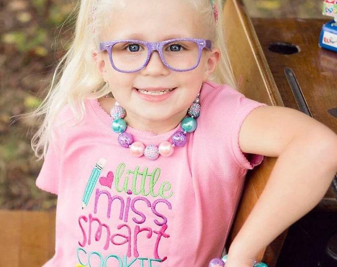 Little Miss Smart Cookie Embroidered Girls Shirt - First Day of Preschool  - Back to School - Kindergarten - Pre-k - Recess Fun
