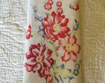 Tea Towel/Bark Cloth Era Cotton Fabric Kitchen/ Tea Towel Blue/Yellow/ White/Red/ Green Dahlia  Floral Print/Kitchen Towel/Vintage Towel