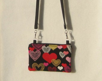Valentine's Day cross body purse with zipper.