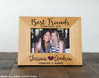 birthday gift for best friend picture frame custom engraved forever and always bffs wood frame moving gift roommate college 4x6 5x7