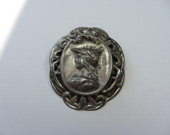LISNER Repousse Brooch Greek Mythology God Mercury