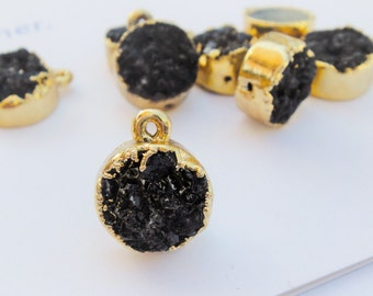 Black Druzy small round pendant, Black druzy with 18k gold plated bezel frame