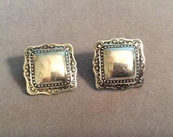 Sterling Silver Scroll Border Post Earrings Engravable