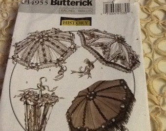 Butterick Sew Pattern Historical Parasol #B4955 4 Views + Parasol cover and Drawstring Bag